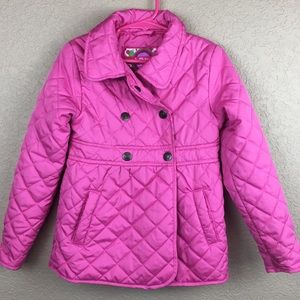 girls • jacket • pea coat • pink • quilted